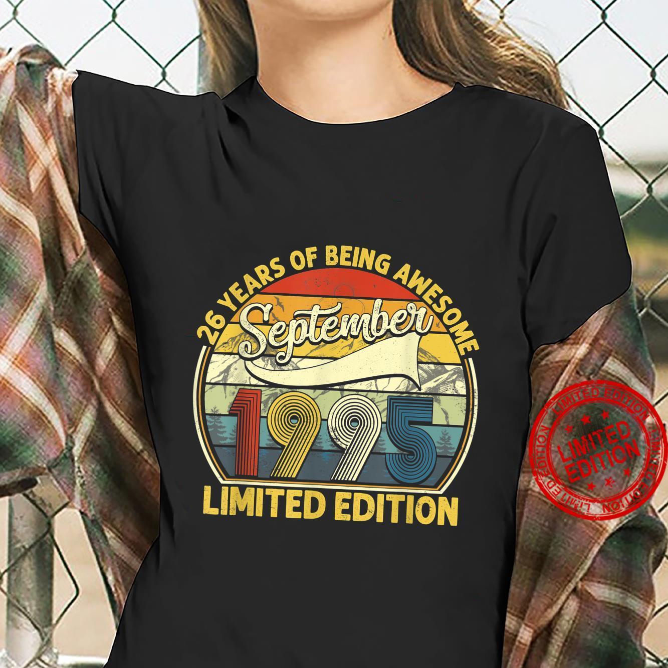 26th Birthday 26 Yrs Old Retro Born In September 1995 Shirt ladies tee