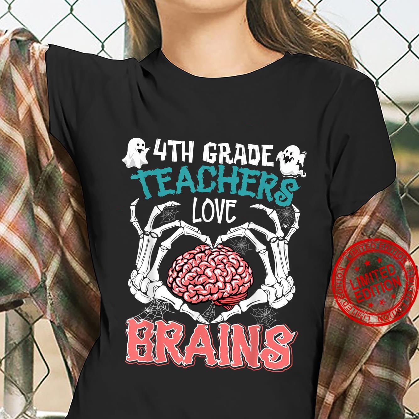 4th Grade Teachers Love Brains Teacher Halloween Costumes Shirt ladies tee
