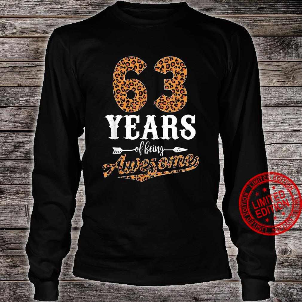 63 Years Of Being Awesome Leopard 63rd Birthday Girl Shirt long sleeved