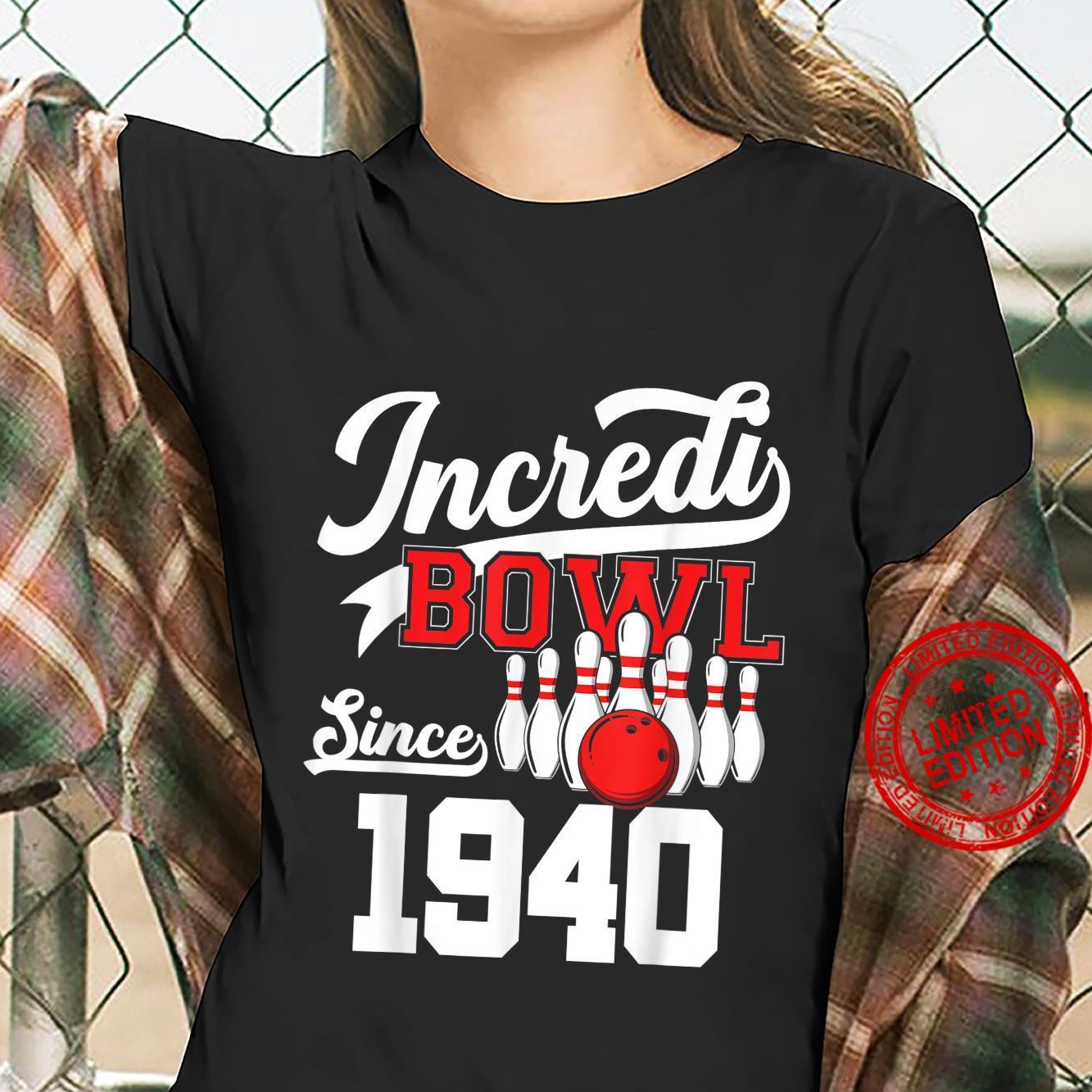 81 Year Old Bowler Bowling 1940 81st Bowler Birthday Shirt ladies tee