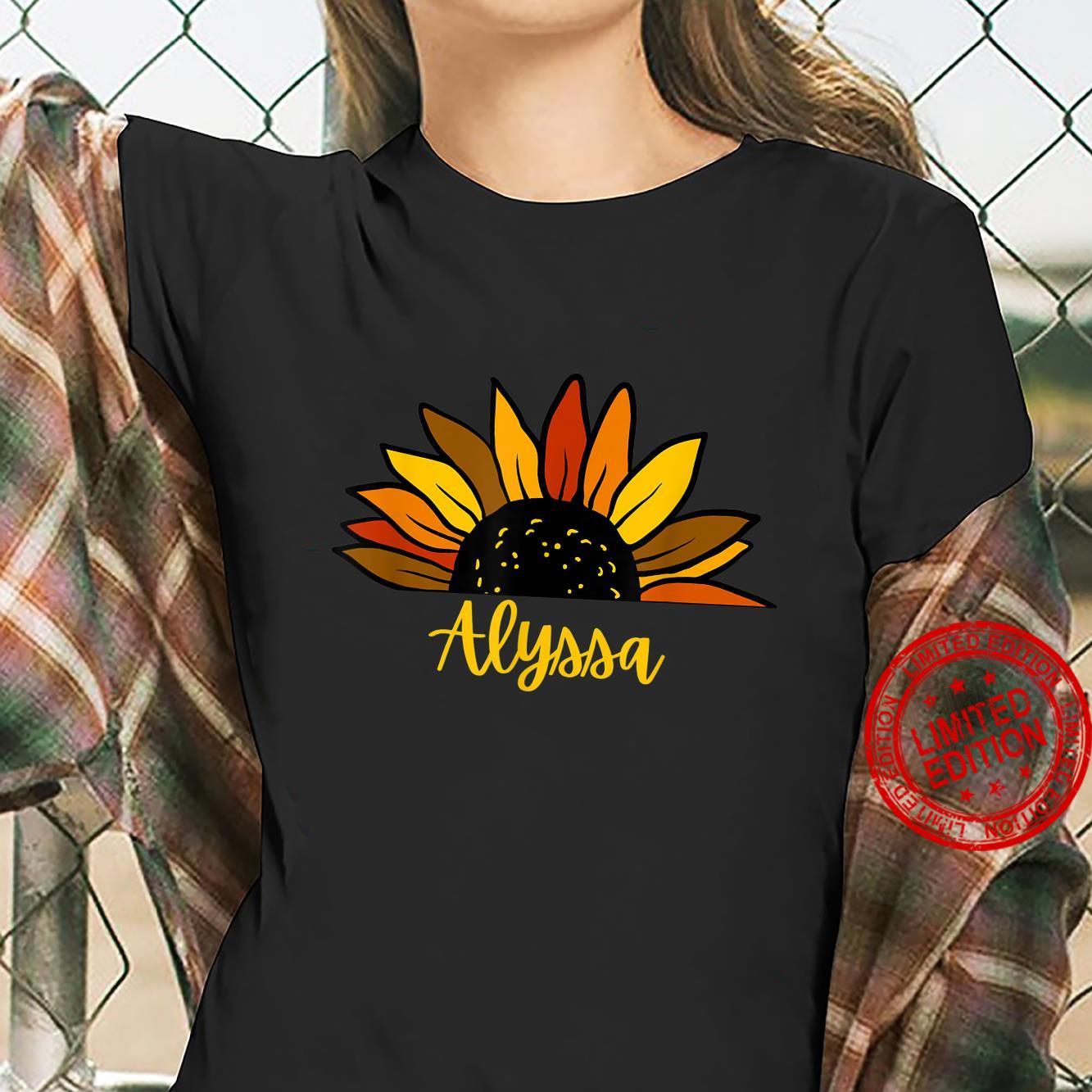 Alyssa Personalized Name Cute Fall Sunflower Autumn Shirt ladies tee
