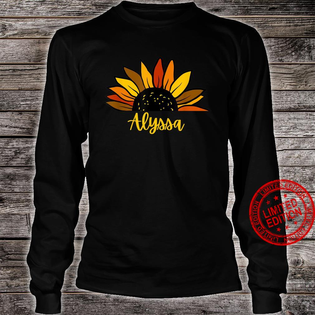 Alyssa Personalized Name Cute Fall Sunflower Autumn Shirt long sleeved