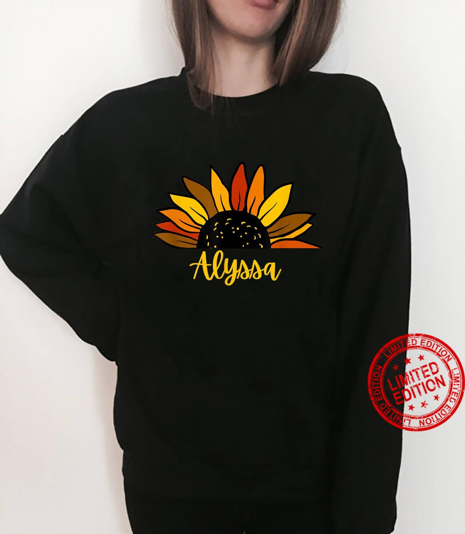 Alyssa Personalized Name Cute Fall Sunflower Autumn Shirt sweater