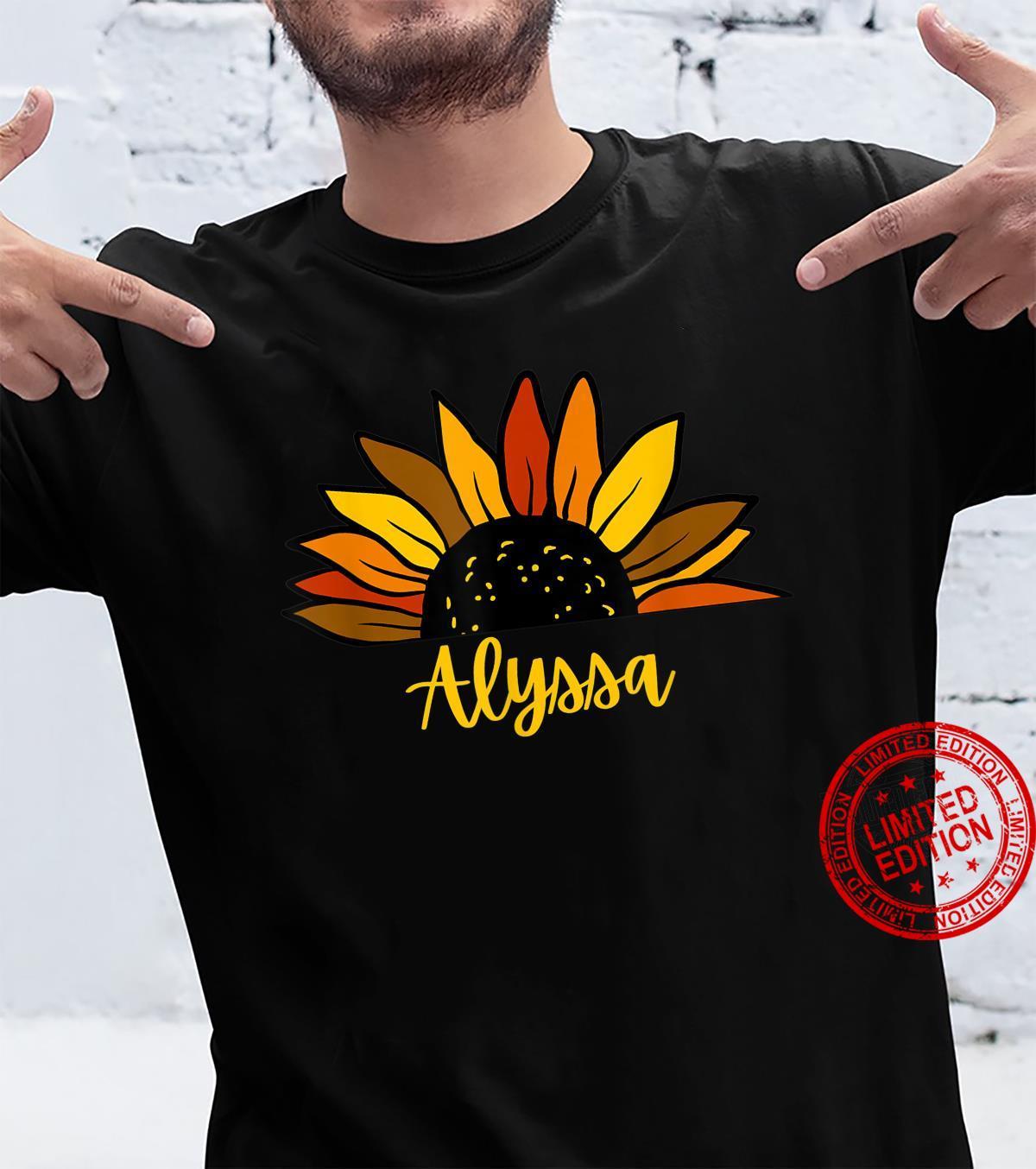 Alyssa Personalized Name Cute Fall Sunflower Autumn Shirt