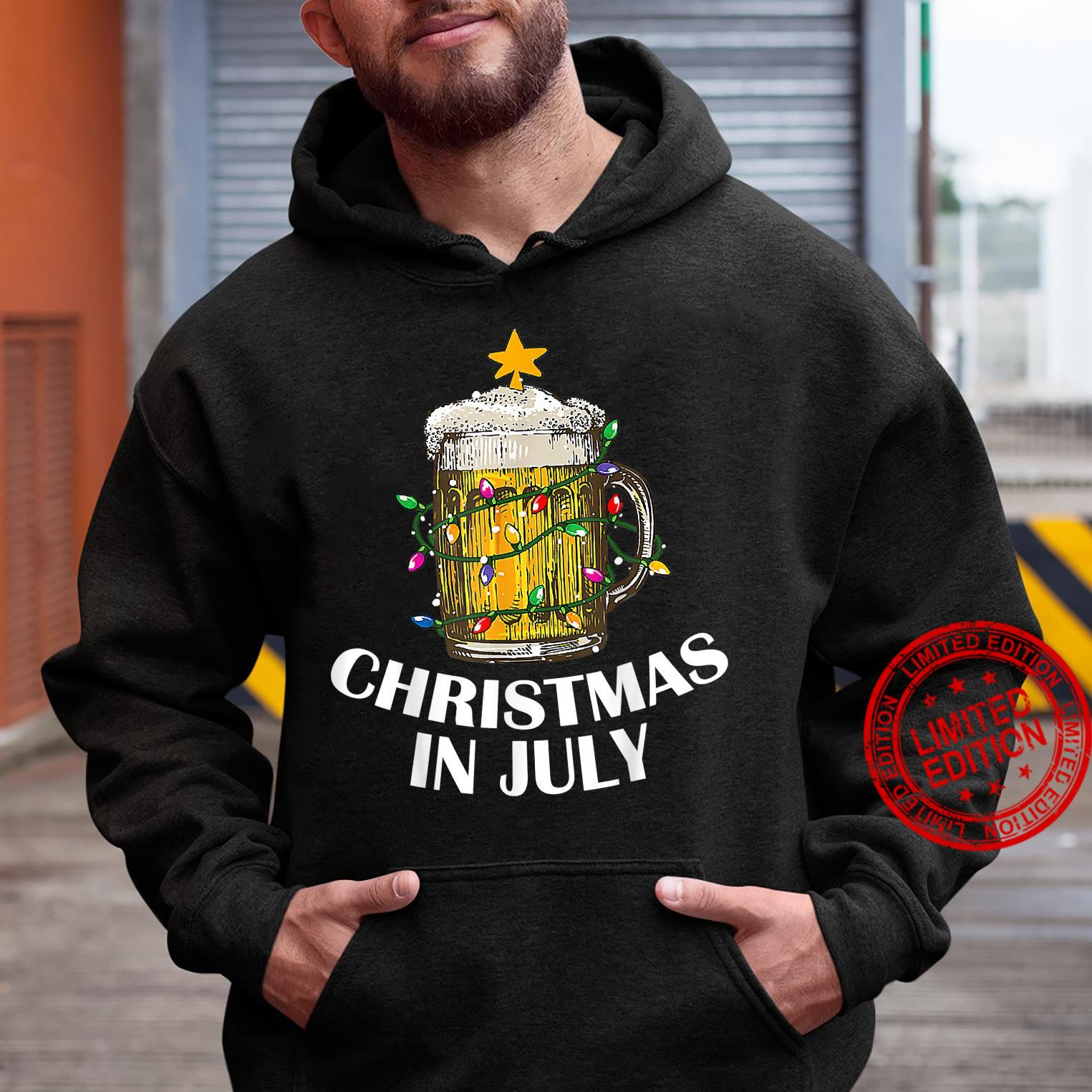 Awesome Beer Xmas Tree Summer For Christmas In July Shirt hoodie