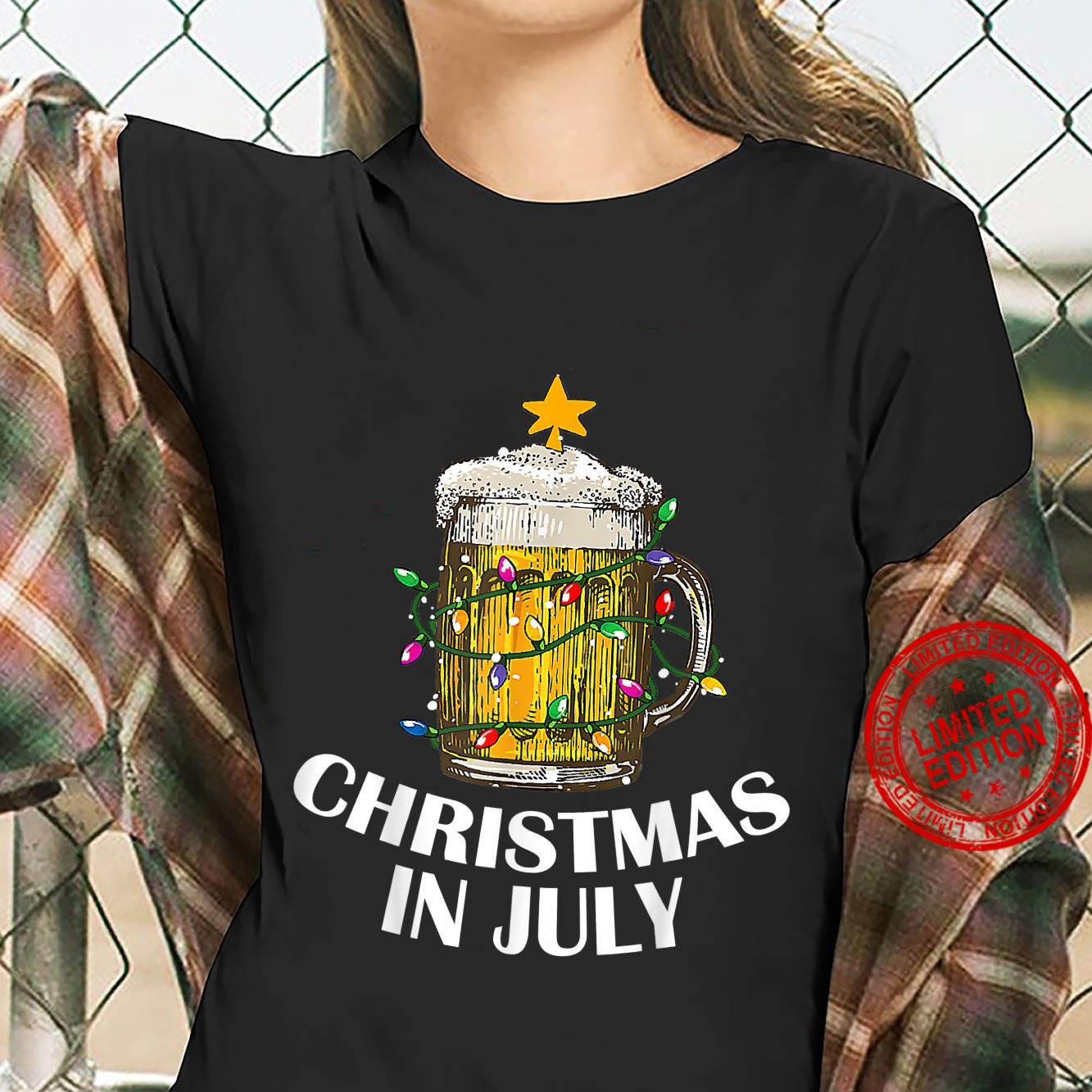Awesome Beer Xmas Tree Summer For Christmas In July Shirt ladies tee
