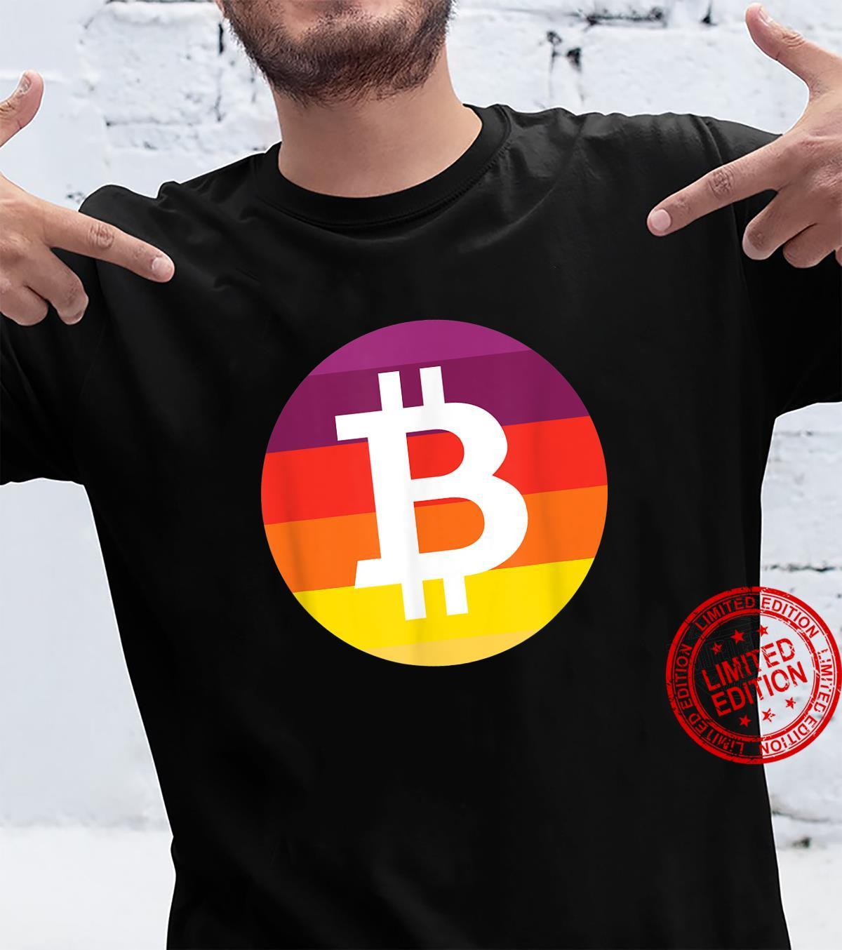 Bitcoin Logo Crypto Circle Sunset Orange Cryptocurrency Shirt