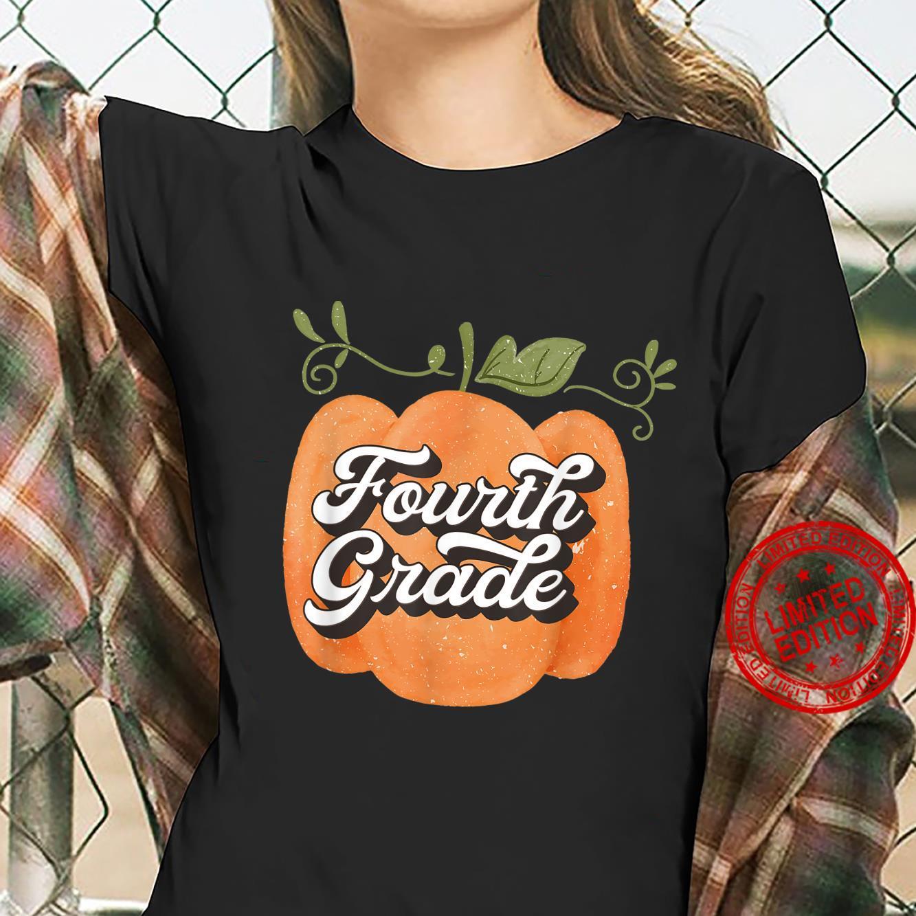 Fall pumpkin 4th grade fall teacher Halloween Shirt ladies tee