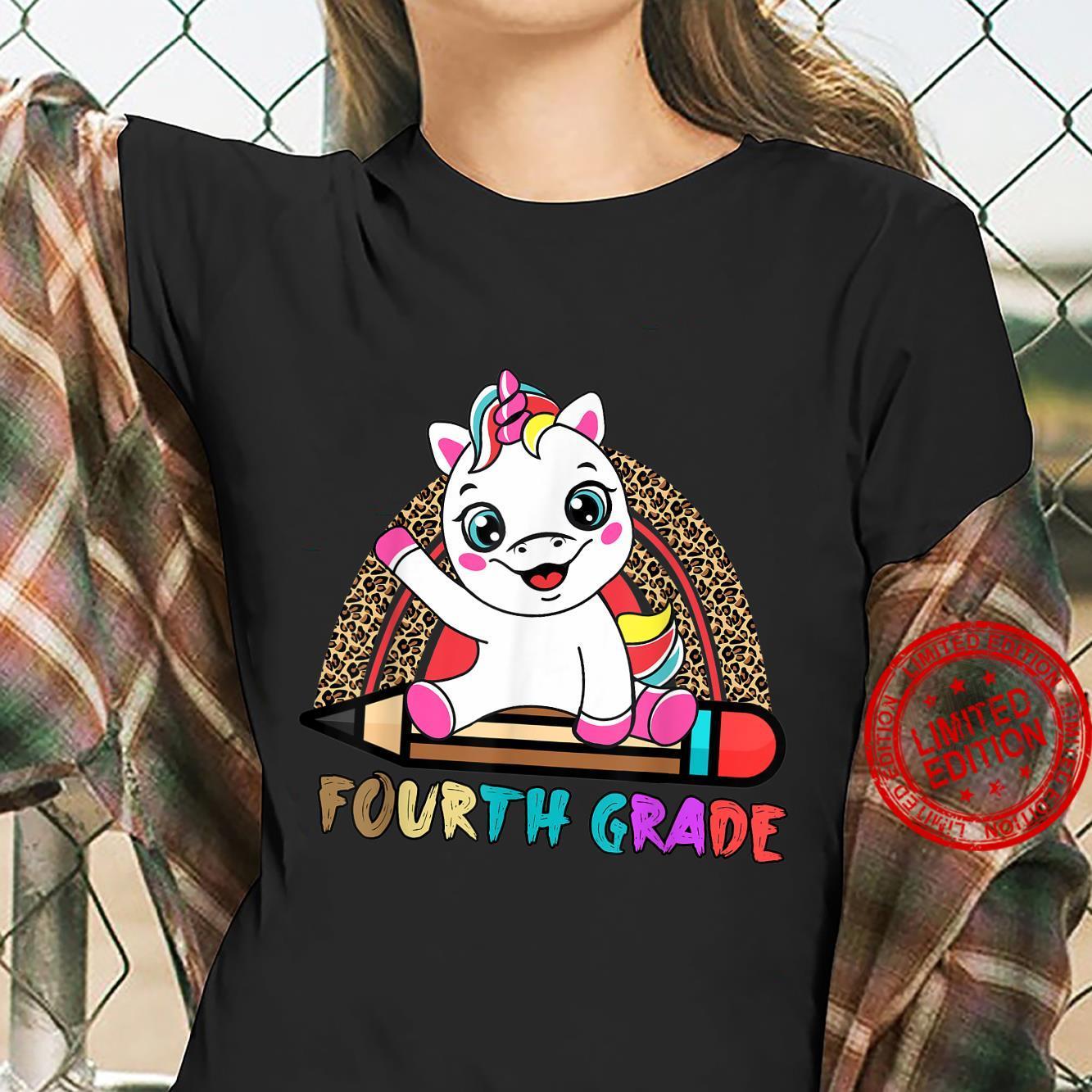 Fourth Grade Leopard Rainbow Girls Boys Unicorn 4th Grade Shirt ladies tee