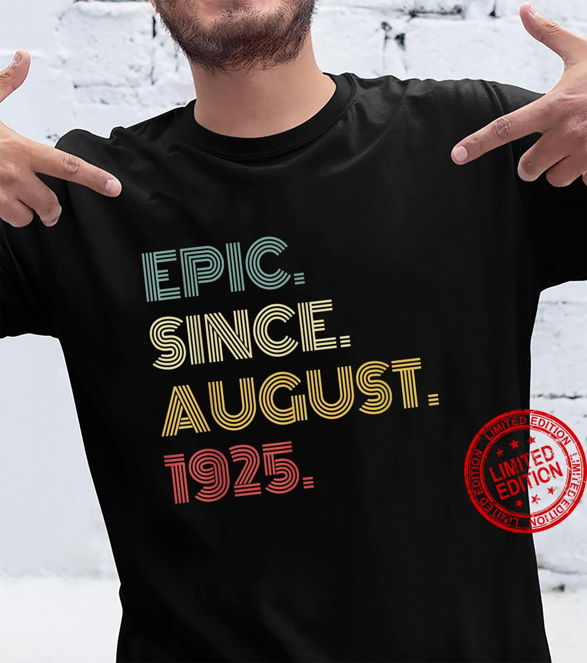 Funny 96 Year Old Shirt Boys Girls Epic Since August 1925 Shirt
