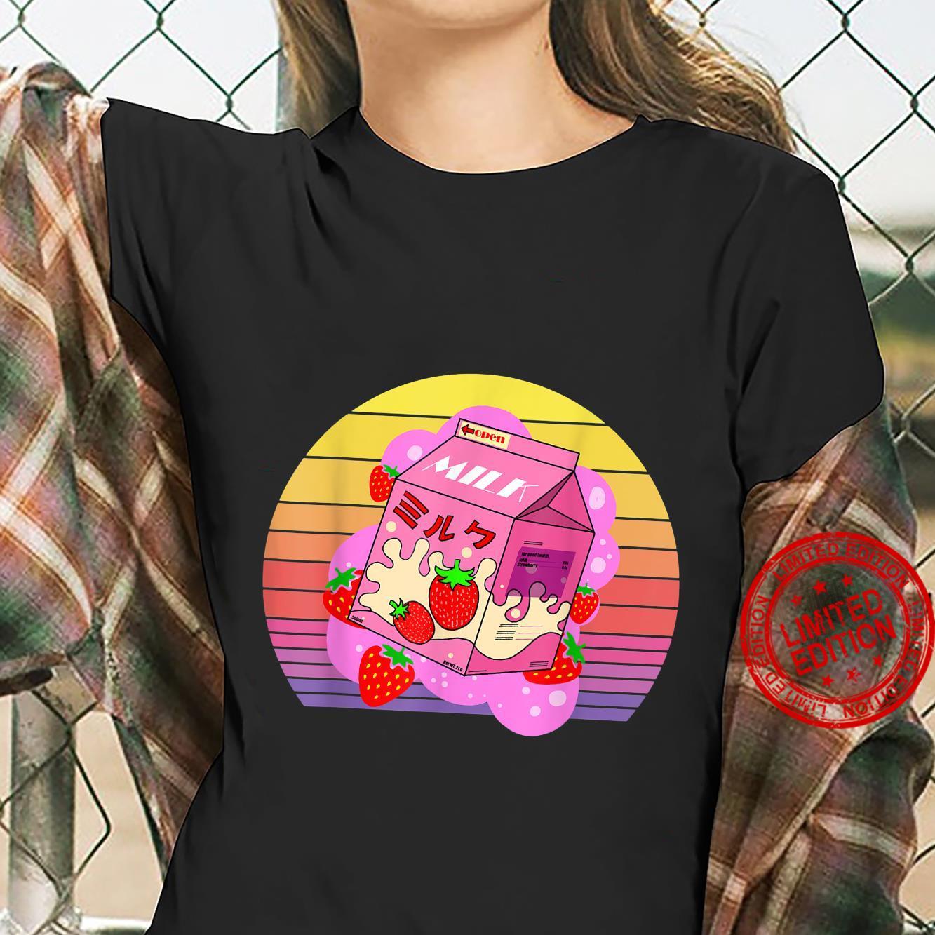 Funny retro 90s japanese kawaii strawberry milk shake carton Shirt ladies tee