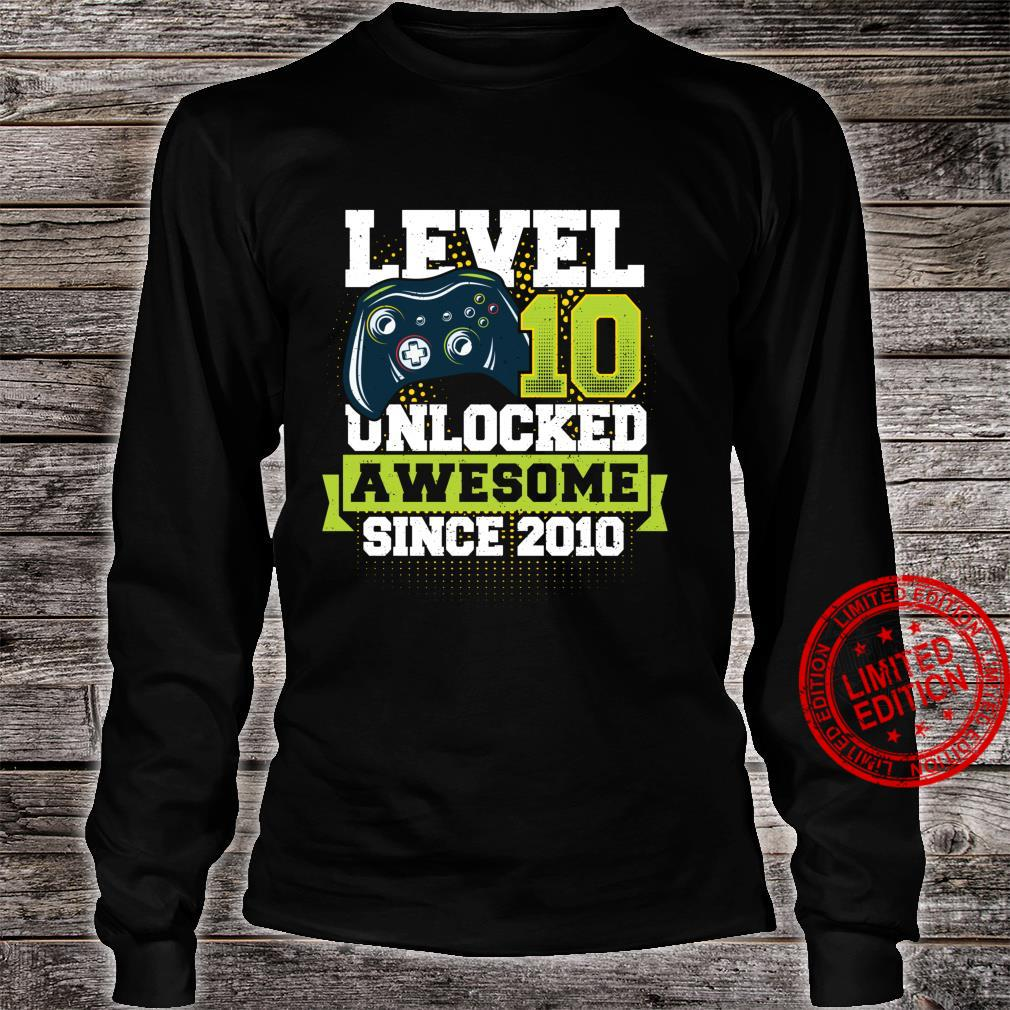 Gaming Level 10 Unlocked Awesome Since 2010 2010 Langarmshirt Shirt long sleeved