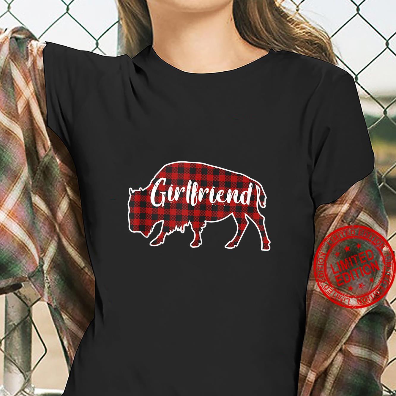 Girlfriend Bison Buffalo Red Plaid Christmas Pajama Family Shirt ladies tee