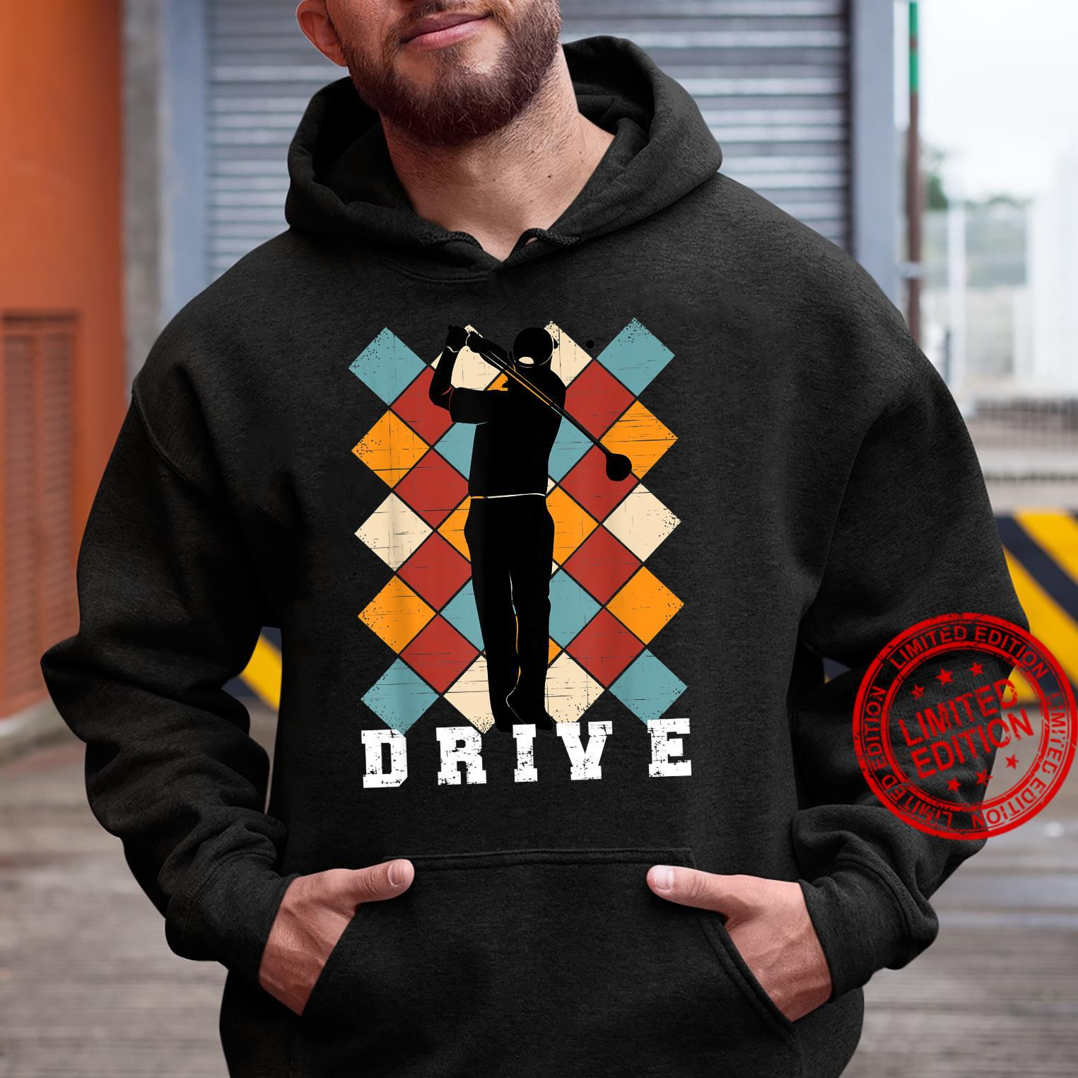 Golf Drive Golfer on Checkered Golf Pants Background Shirt hoodie