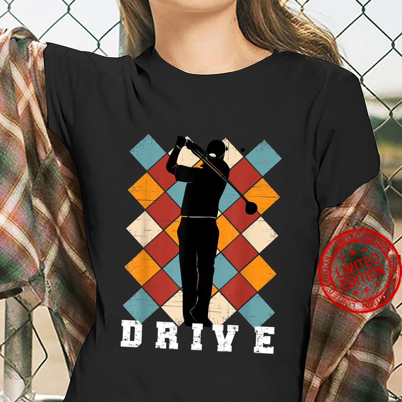 Golf Drive Golfer on Checkered Golf Pants Background Shirt ladies tee
