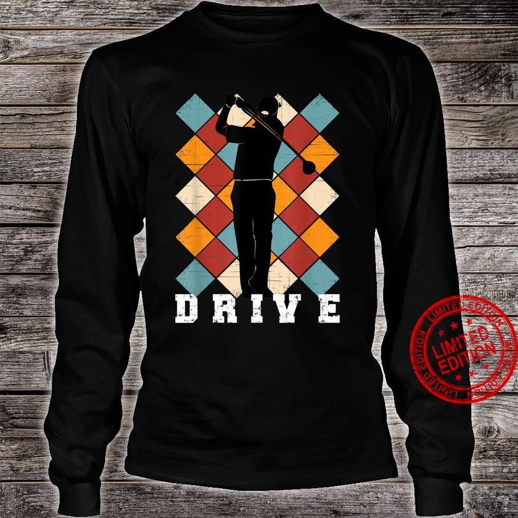 Golf Drive Golfer on Checkered Golf Pants Background Shirt long sleeved