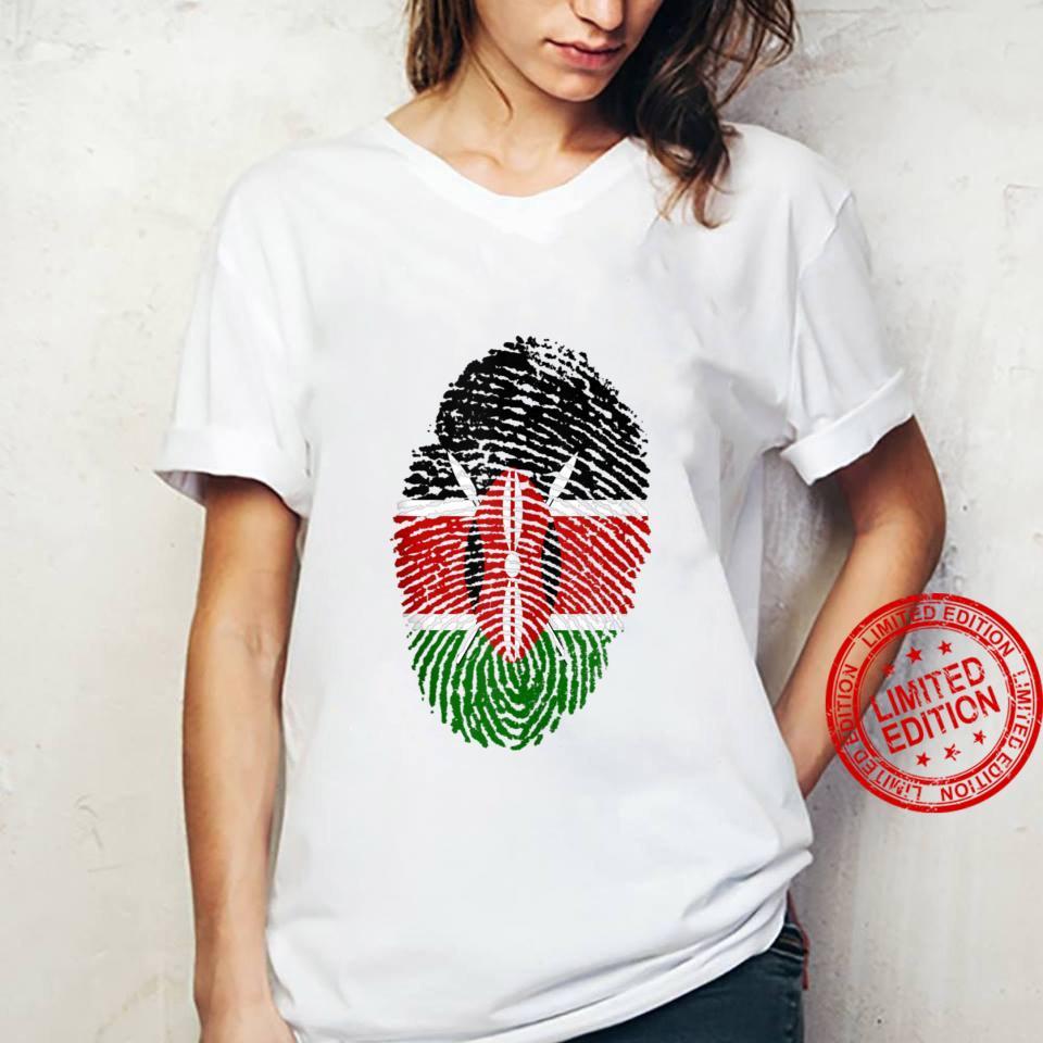 Kenya Flag Fingerprint Shirt ladies tee