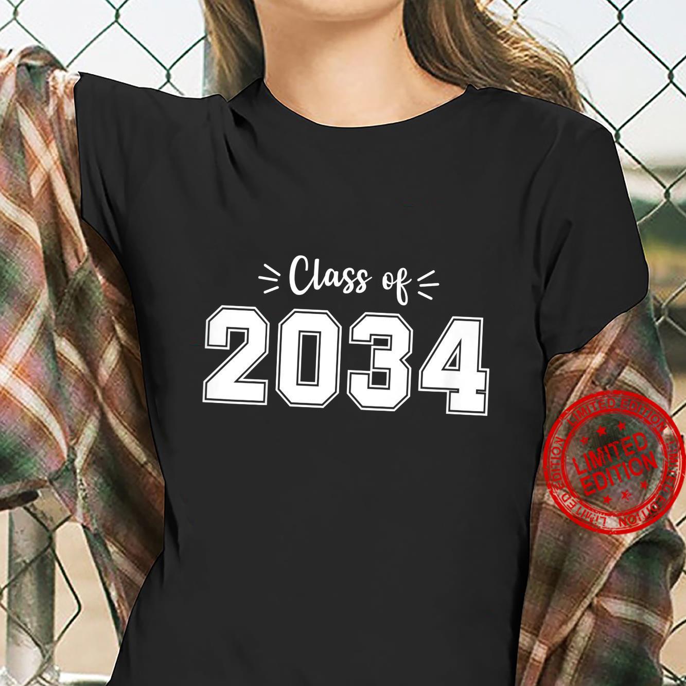 Kids Kindergarten 2021 Class of 2034 grow with me Youth Student Shirt ladies tee