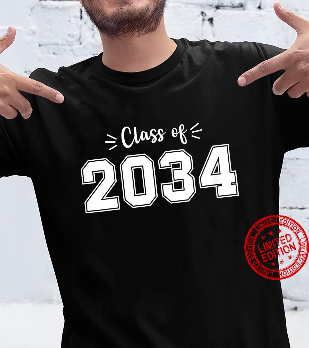 Kids Kindergarten 2021 Class of 2034 grow with me Youth Student Shirt