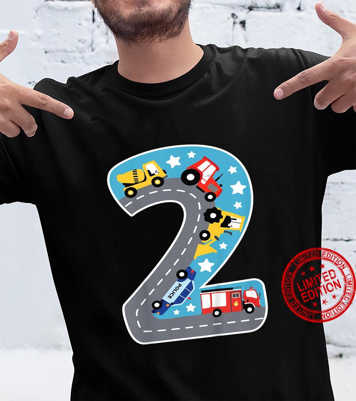 Kinder Bin Schon 2 Jahre Traktor Bagger Auto Straße 2. Geburtstag Shirt