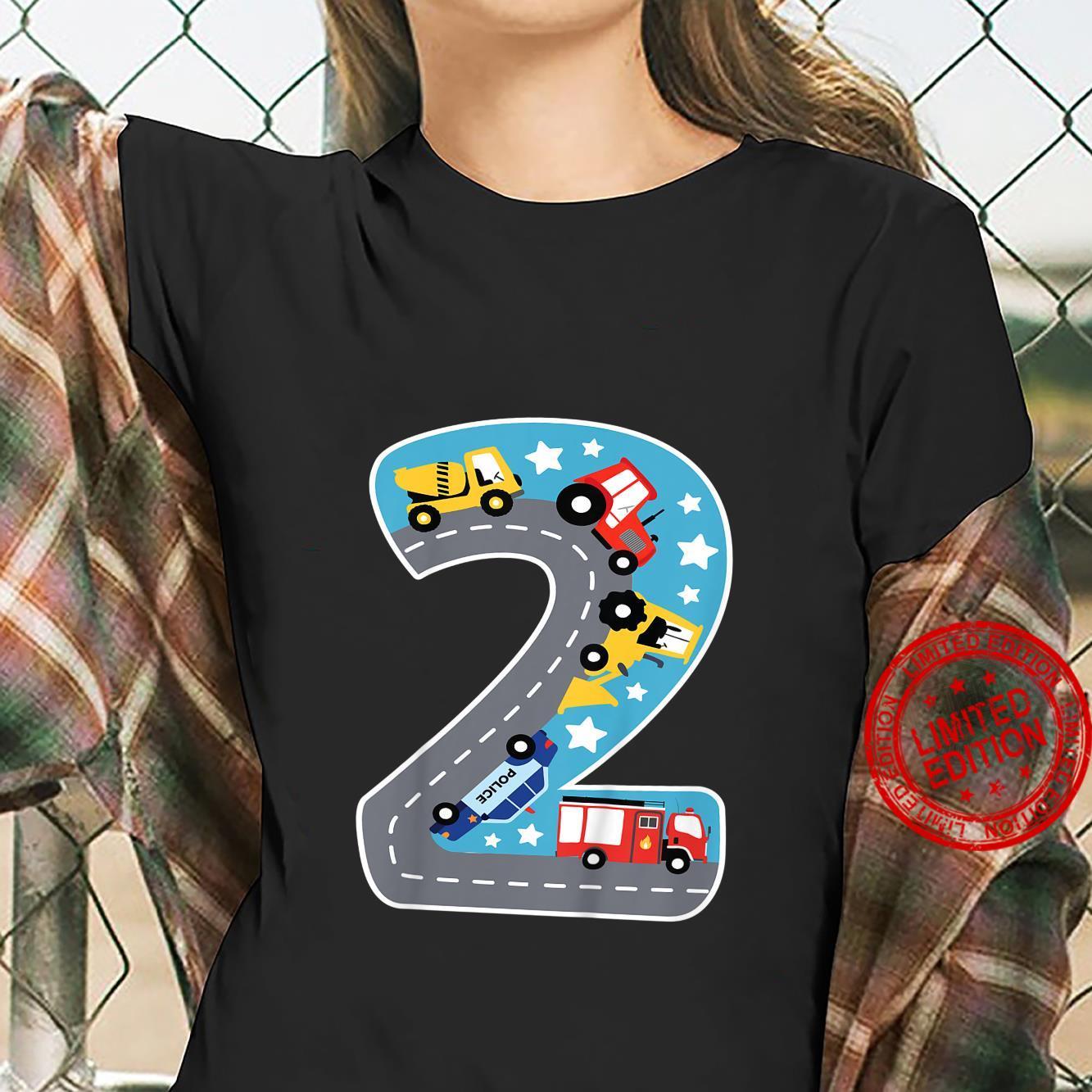 Kinder Bin Schon 2 Jahre Traktor Bagger Auto Straße 2. Geburtstag Shirt ladies tee