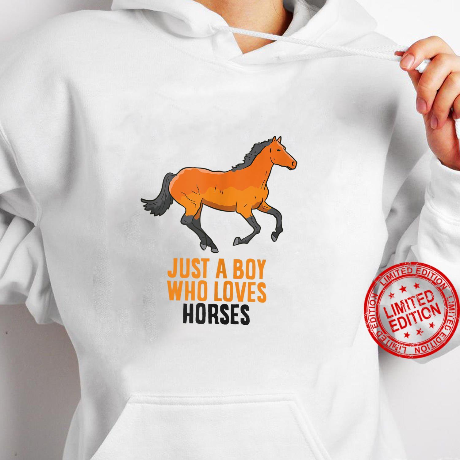 Mens Horse Boy Just A Boy Who Loves Horses Horseback Riding Shirt hoodie