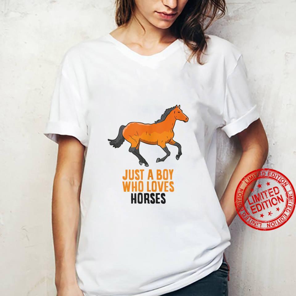 Mens Horse Boy Just A Boy Who Loves Horses Horseback Riding Shirt ladies tee