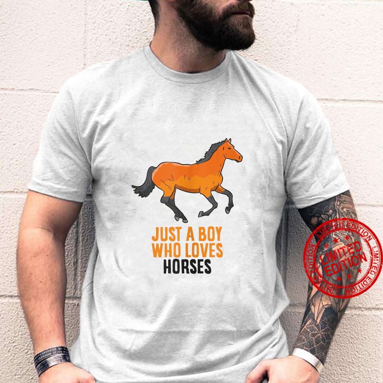 Mens Horse Boy Just A Boy Who Loves Horses Horseback Riding Shirt