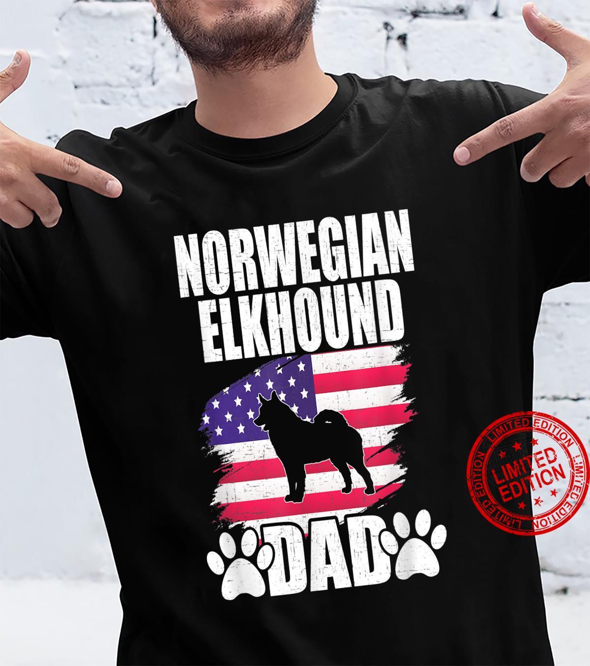 Norwegian Elkhound Dad Dog American US Flag Shirt