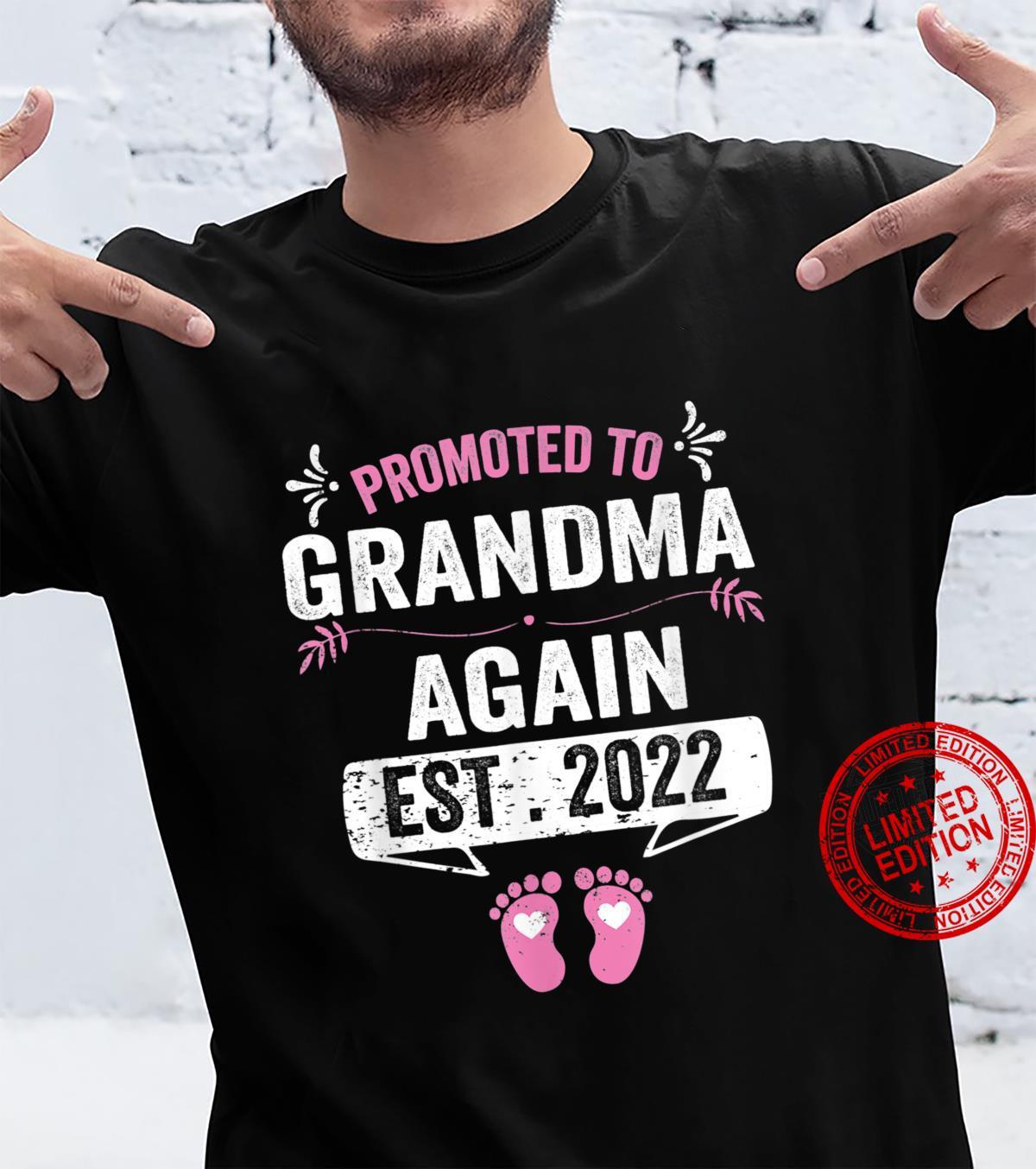 Promoted To Grandma Again EST 2022 Pregnancy Announcement Shirt