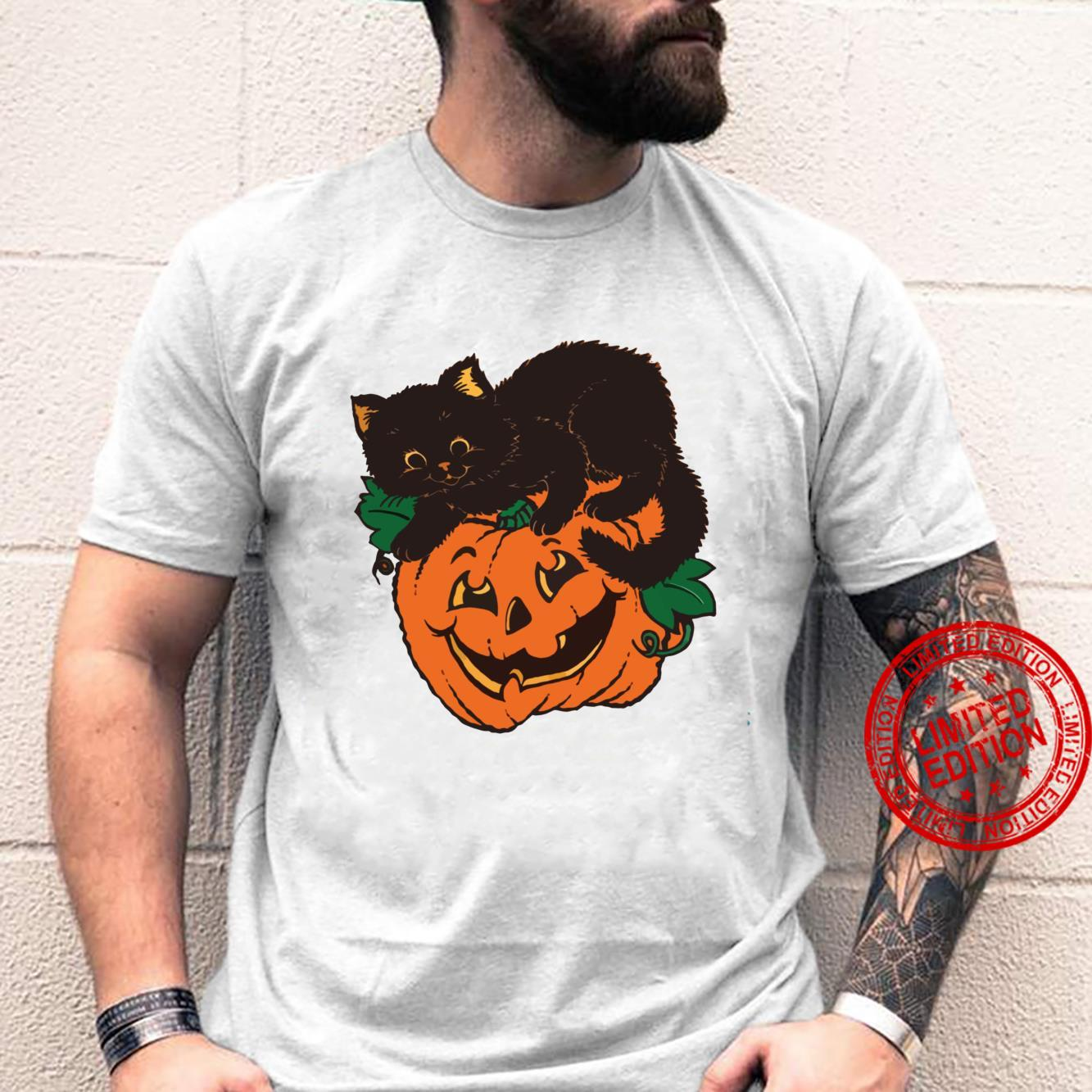 Pumpkin and Black Cat Halloween Vintage Custom Shirt