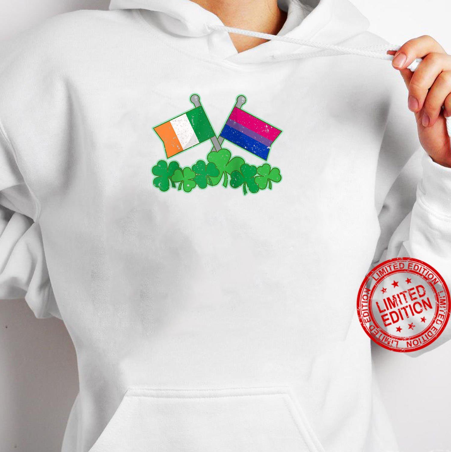 St Patricks Day Flag and Shamrocks Biexual Pride Shirt hoodie