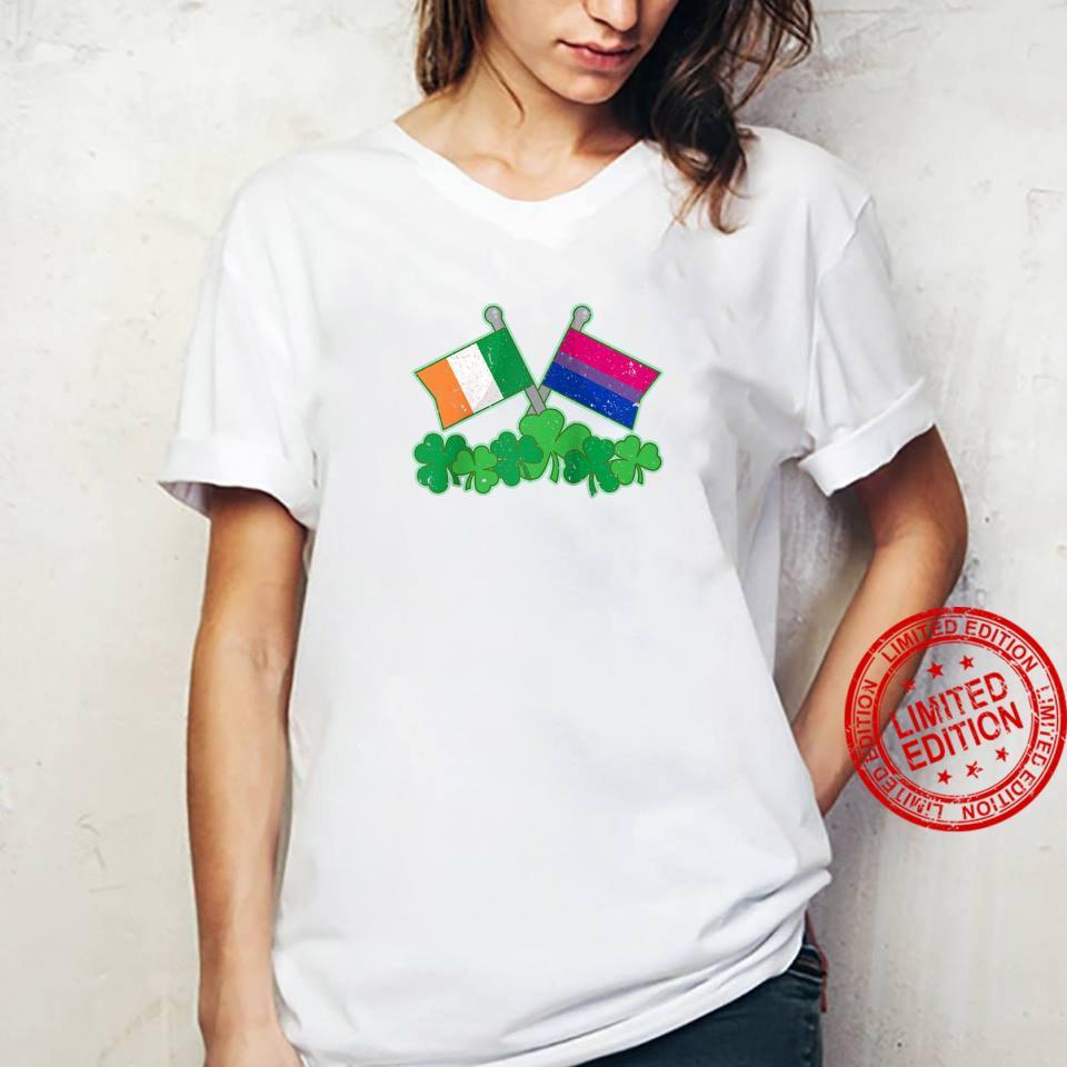 St Patricks Day Flag and Shamrocks Biexual Pride Shirt ladies tee