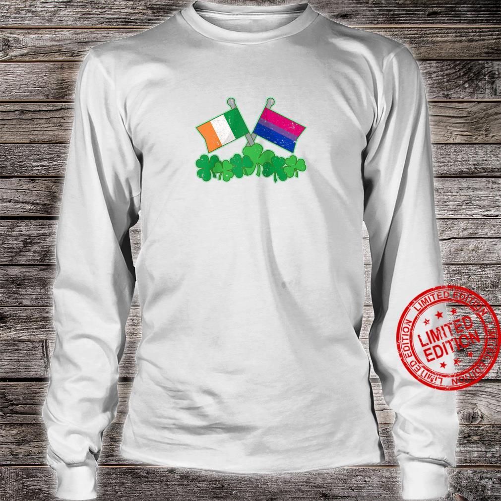 St Patricks Day Flag and Shamrocks Biexual Pride Shirt long sleeved