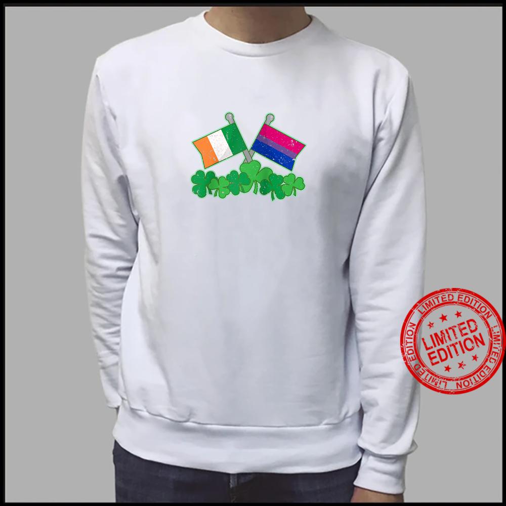 St Patricks Day Flag and Shamrocks Biexual Pride Shirt sweater