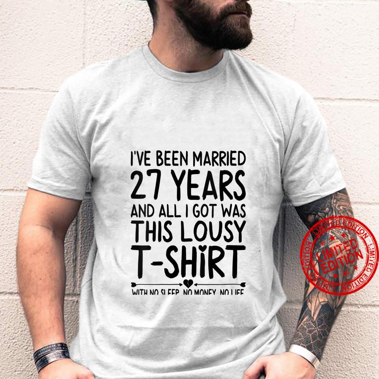 Womens 27th Wedding Anniversary Shirt for Her & Him Humor Marriage Shirt