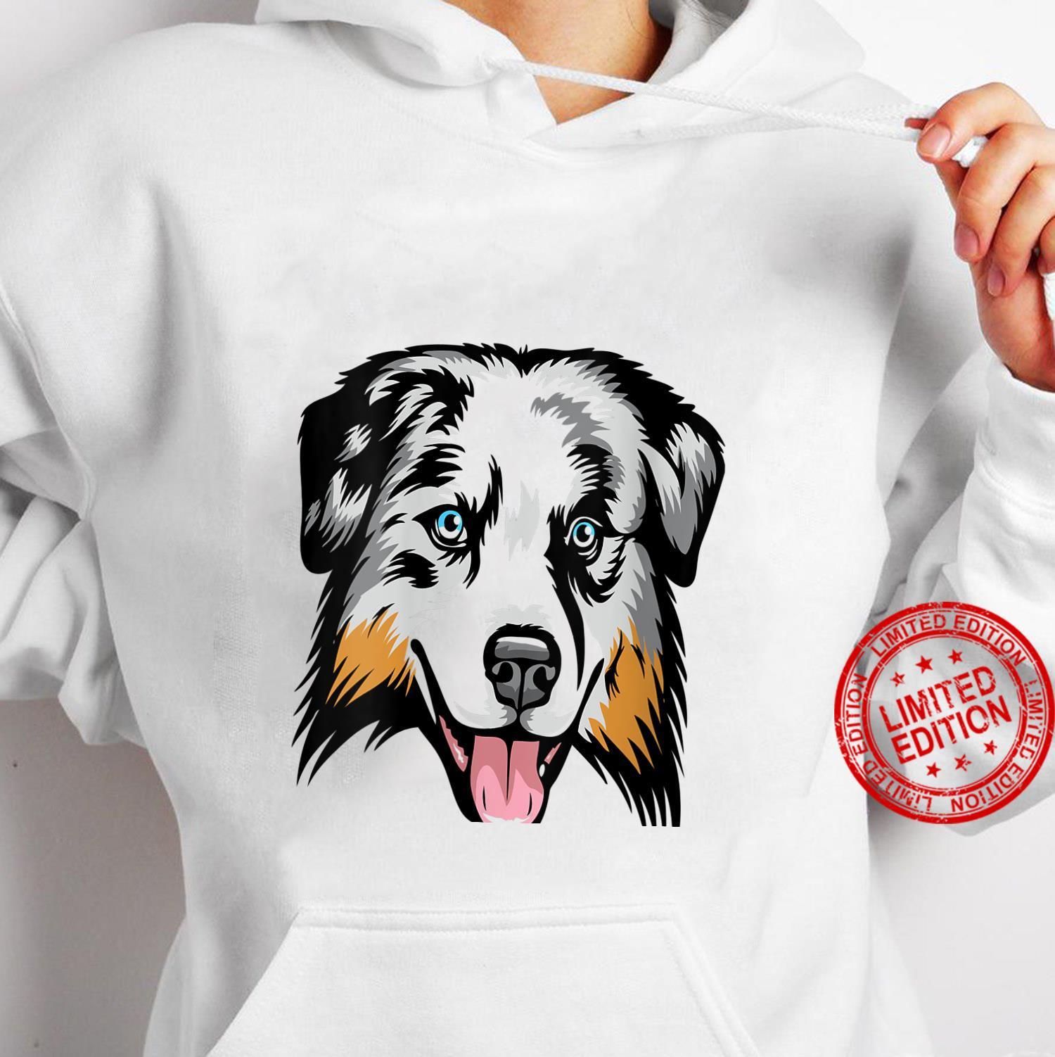 Womens Cool Australian Shepherd Face Shirt hoodie