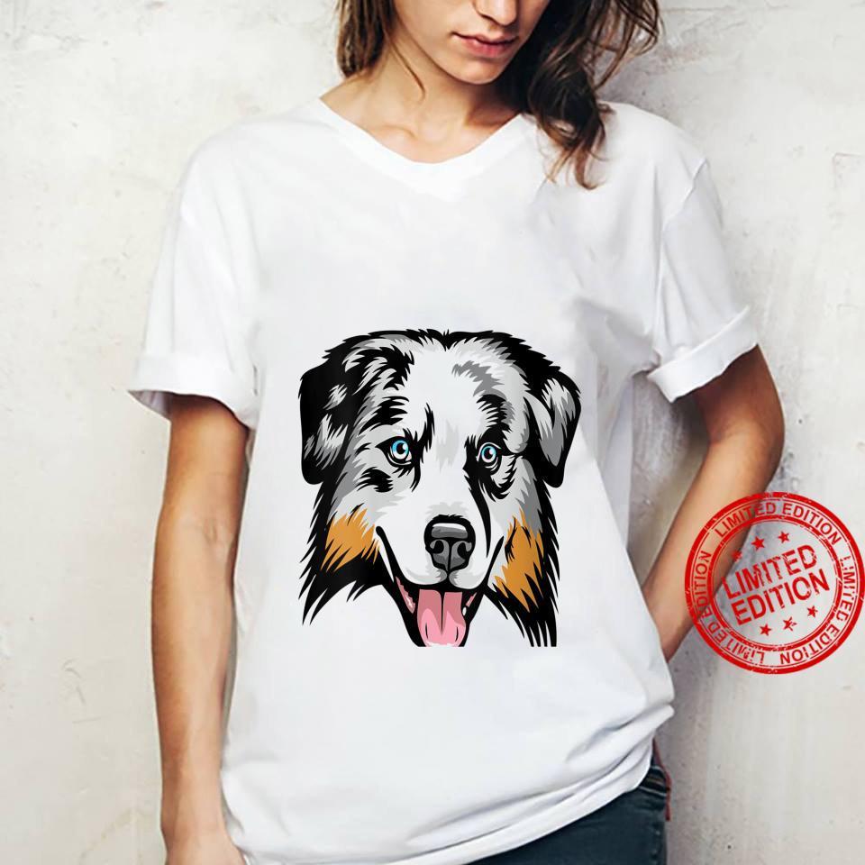 Womens Cool Australian Shepherd Face Shirt ladies tee