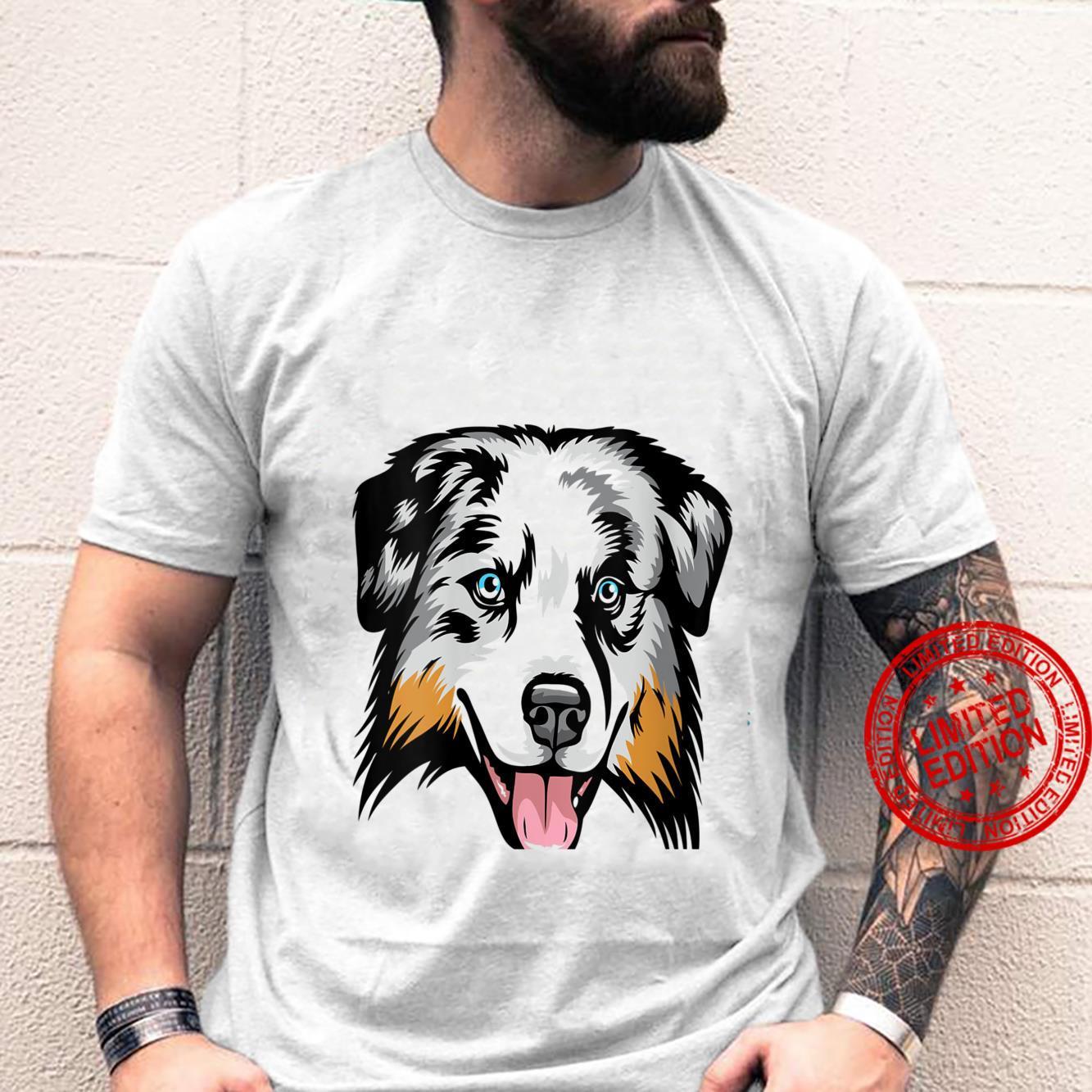 Womens Cool Australian Shepherd Face Shirt