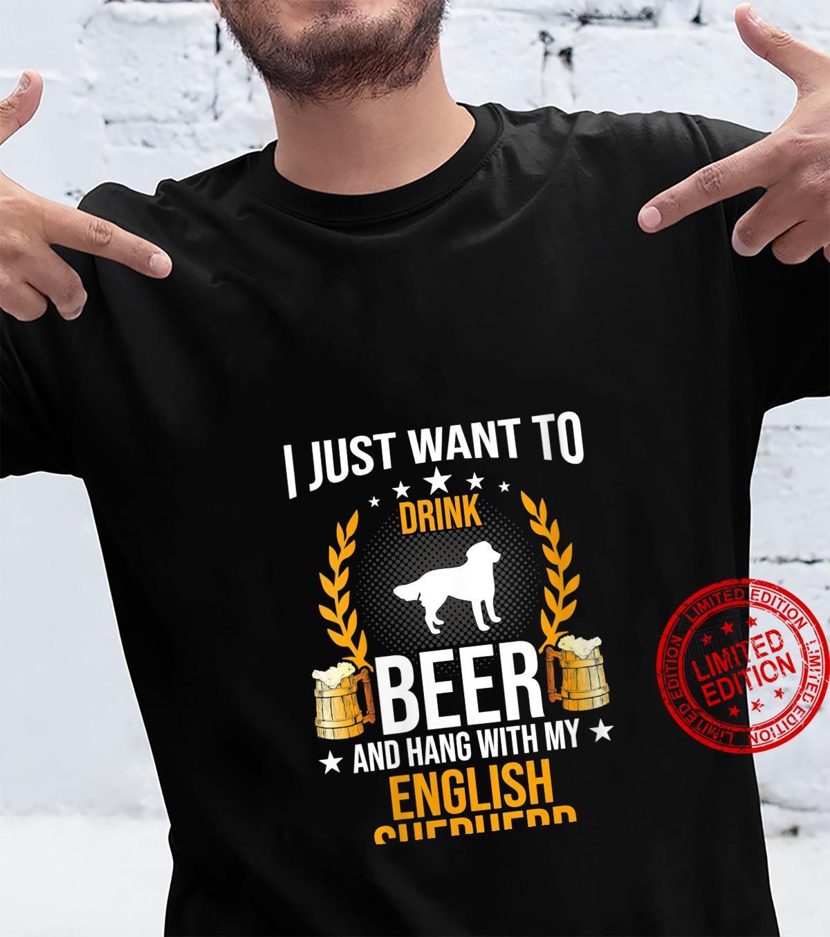 Womens Drink Beer And Hang With My English Shepherd Dog Shirt