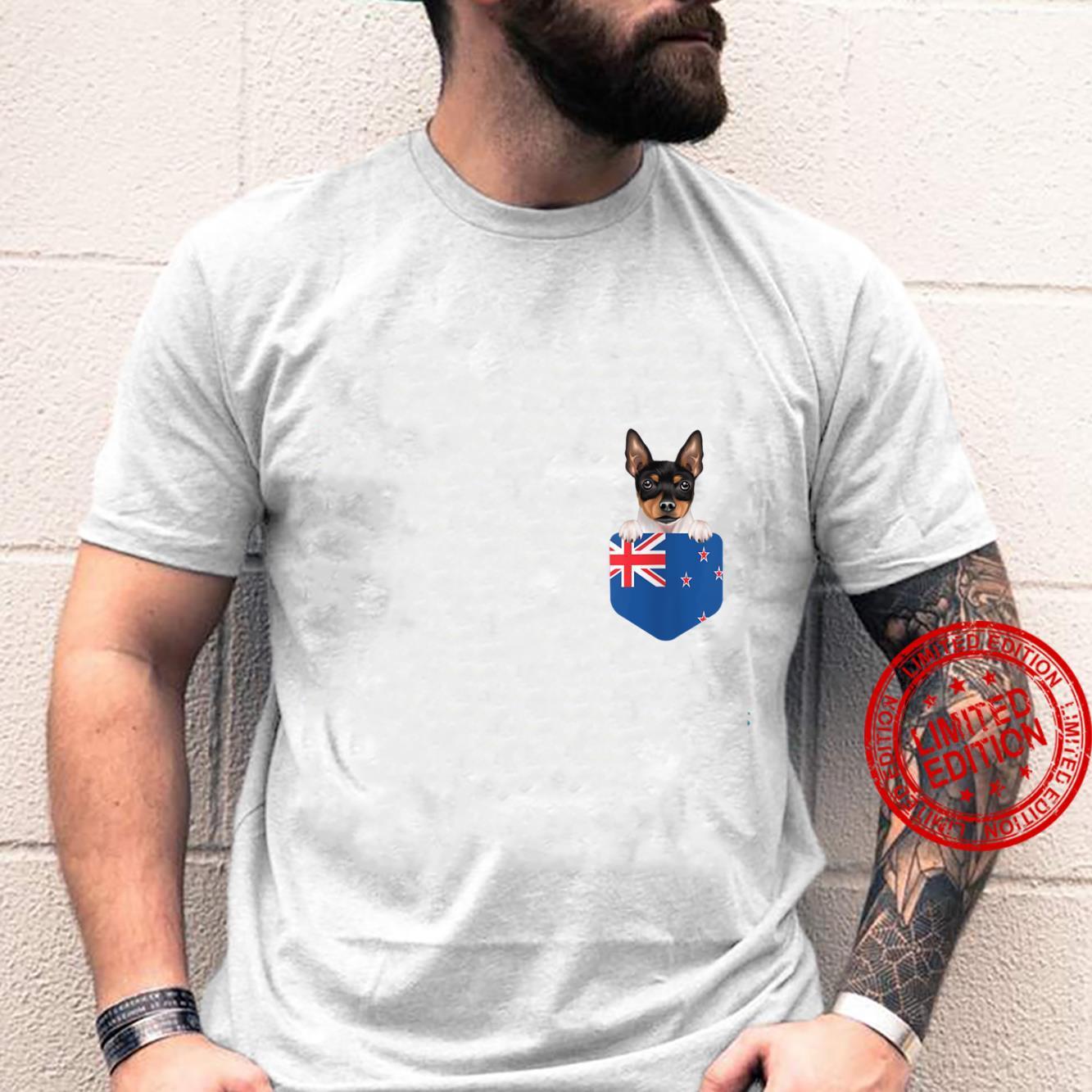 Womens New Zealand Flag Toy Fox Terrier Dog In Pocket Shirt