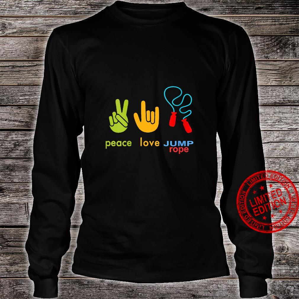 Womens Peace Love Jump Rope Skipping Jumping Design Shirt long sleeved