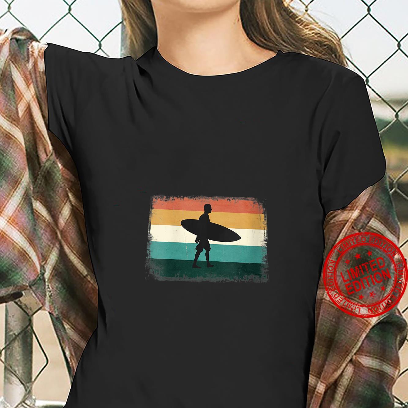 Womens Retro Sunset Surfer Vintage Surfing Beach Sun & Surf Shirt ladies tee