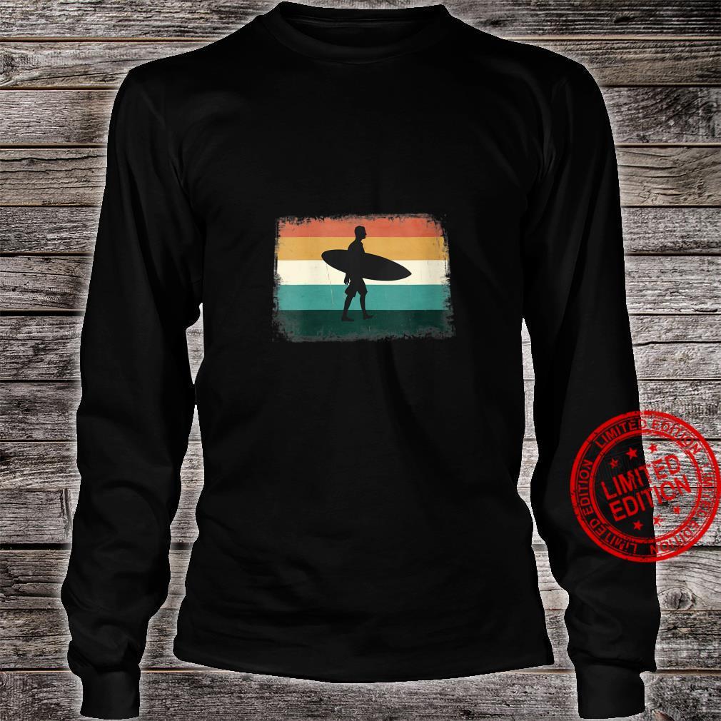 Womens Retro Sunset Surfer Vintage Surfing Beach Sun & Surf Shirt long sleeved
