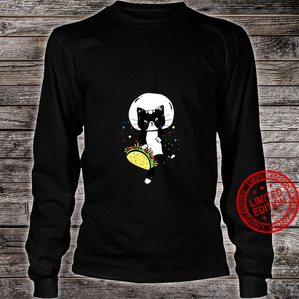 Womens Space Cat Taco Cute Universe Galaxy Kitten Outerspace Shirt long sleeved