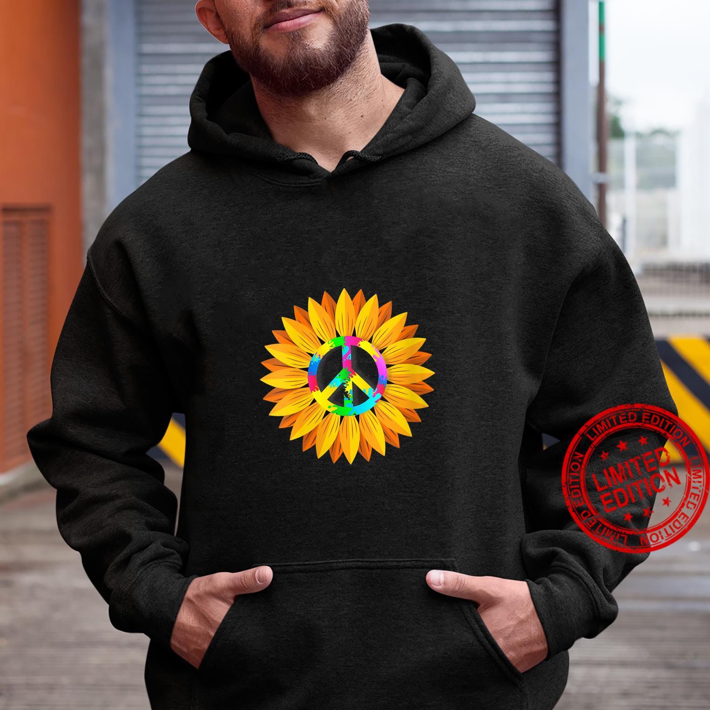 Womens Sunflower Peace Symbol Hippy Hippie Shirt hoodie