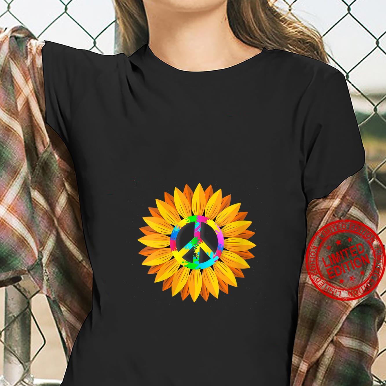 Womens Sunflower Peace Symbol Hippy Hippie Shirt ladies tee
