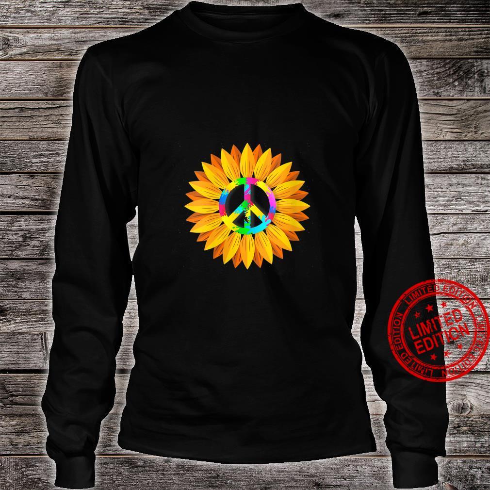 Womens Sunflower Peace Symbol Hippy Hippie Shirt long sleeved