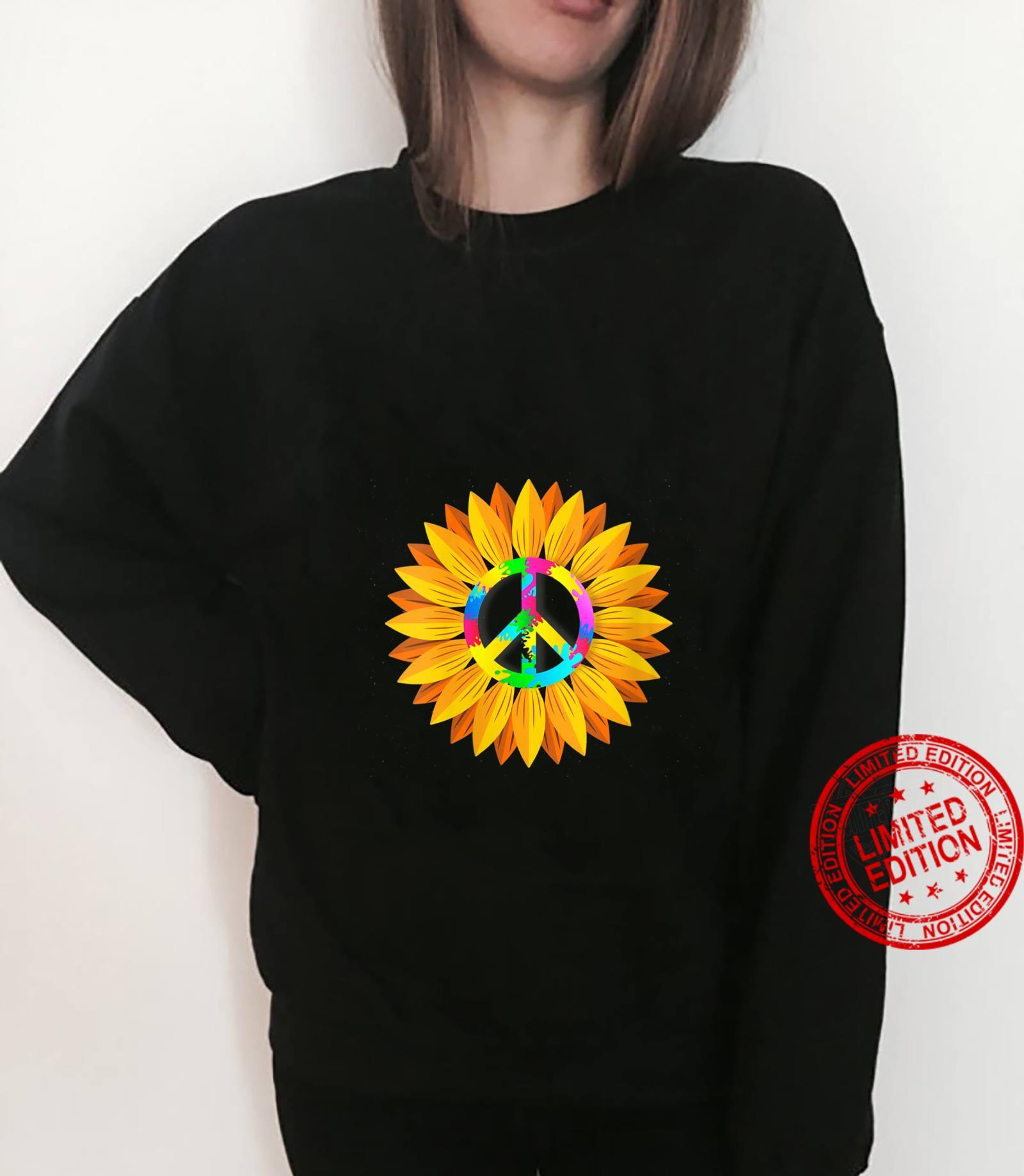 Womens Sunflower Peace Symbol Hippy Hippie Shirt sweater