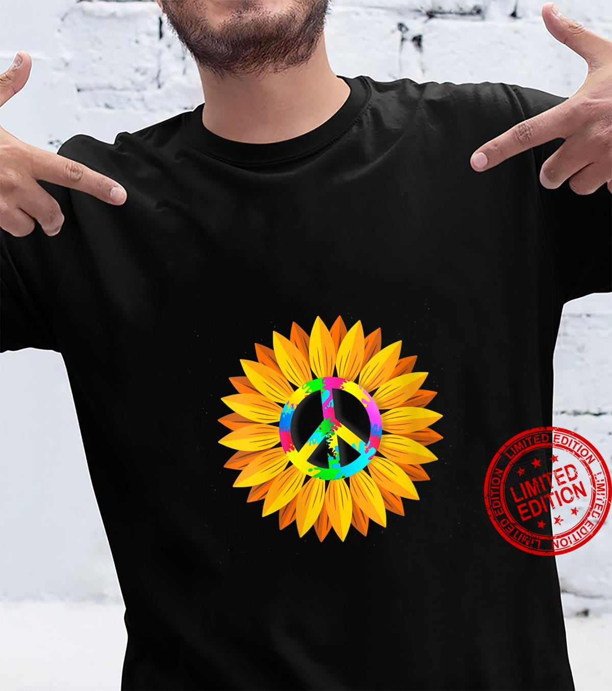 Womens Sunflower Peace Symbol Hippy Hippie Shirt